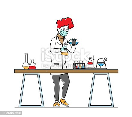 istock Scientist in Lab Coat Conduct Experiment, Scientific Research in Lab. Chemistry Staff at Work, Technician Laboratory 1280889796