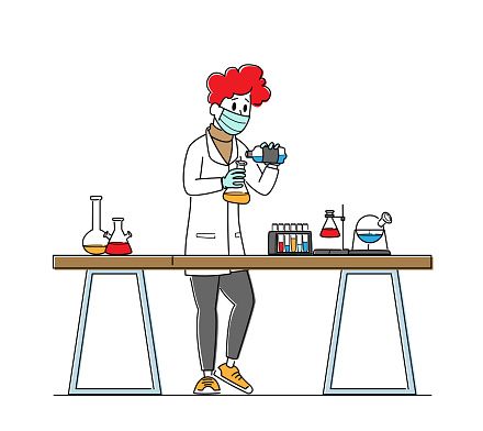 Scientist in Lab Coat Conduct Experiment, Scientific Research in Lab. Chemistry Staff at Work, Technician Laboratory