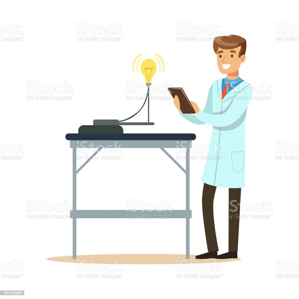 Scientist in modern laboratory conducting experiments with lamp bulb royalty-free scientist in modern laboratory conducting experiments with lamp bulb stock vector art & more images of adult