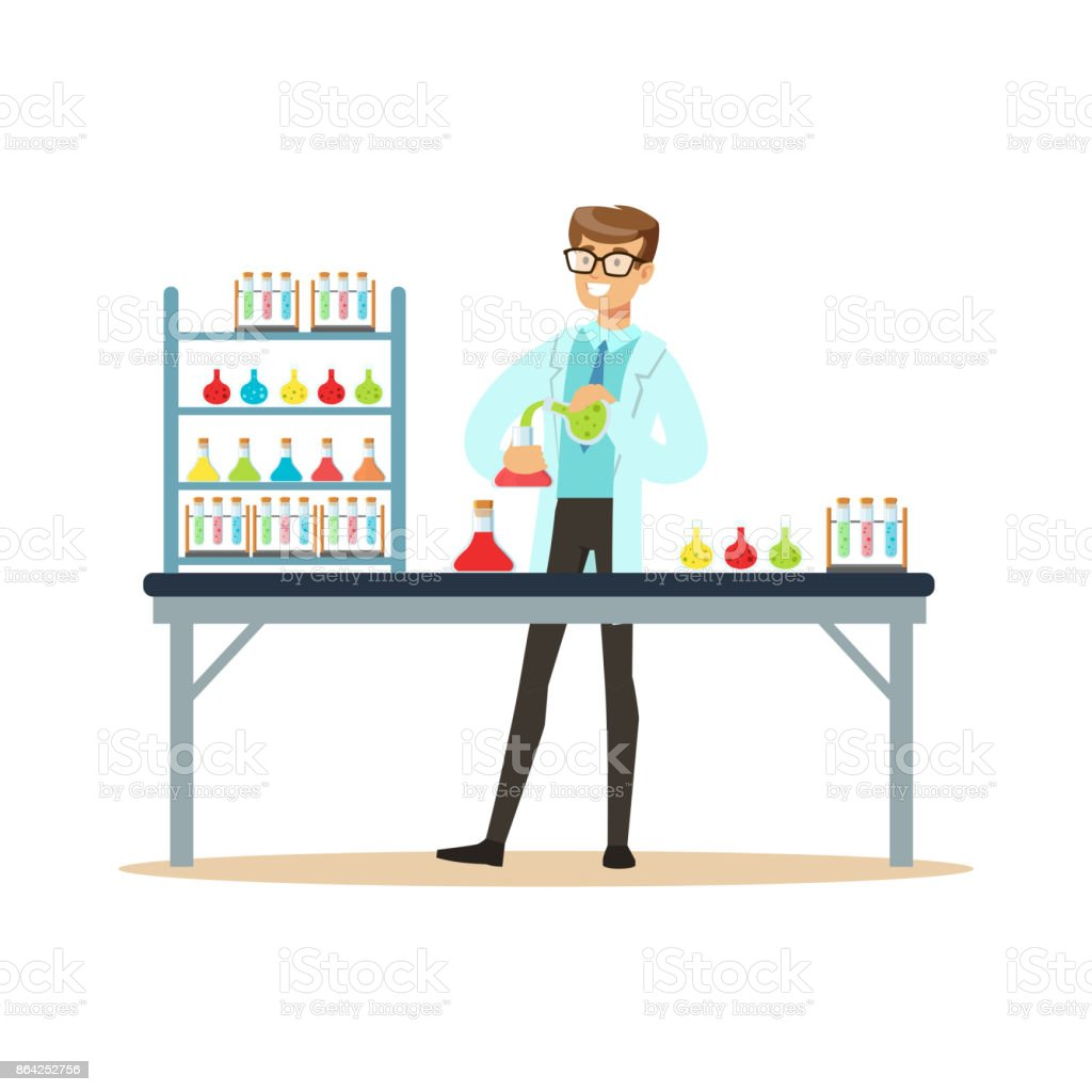 Scientist in modern laboratory conducting experiments with liquids royalty-free scientist in modern laboratory conducting experiments with liquids stock vector art & more images of adult