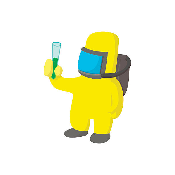 scientist in protective suit cartoon icon - cartoon of a hazmat suit stock illustrations, clip art, cartoons, & icons