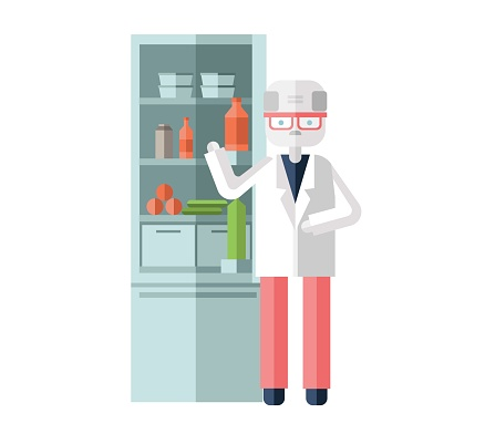 Scientist in white robe standing in the kitchen or lab. Colorful flat vector illustration. Isolated on white background.
