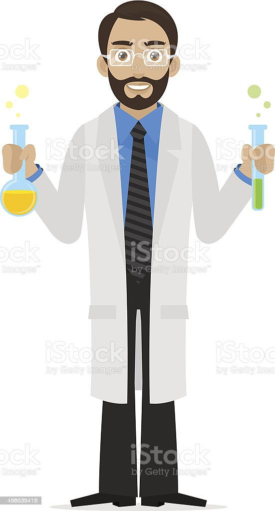 Scientist keeps chemicals in test tube royalty-free stock vector art
