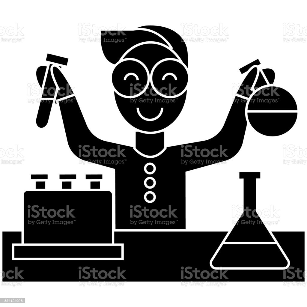 scientist kid, lab tests  icon, vector illustration, sign on isolated background royalty-free scientist kid lab tests icon vector illustration sign on isolated background stock vector art & more images of beer bottle