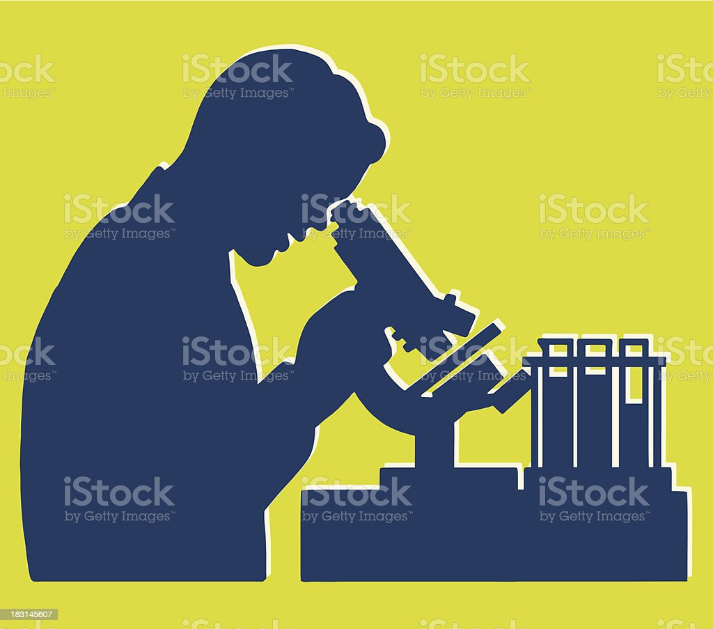 Scientist Lab Scene Silhouette vector art illustration