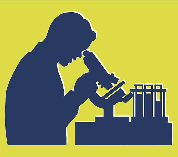 Scientist Lab Scene Silhouette Scientist Lab Scene Silhouette microbiologist stock illustrations