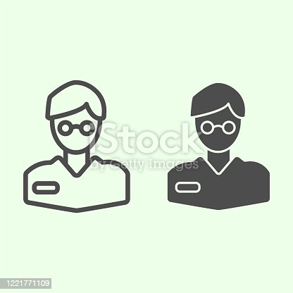 istock Scientist line and solid icon. Researcher or chemist man in spectacles outline style pictogram on white background. Research and experiment signs for mobile concept and web design. Vector graphics. 1221771109