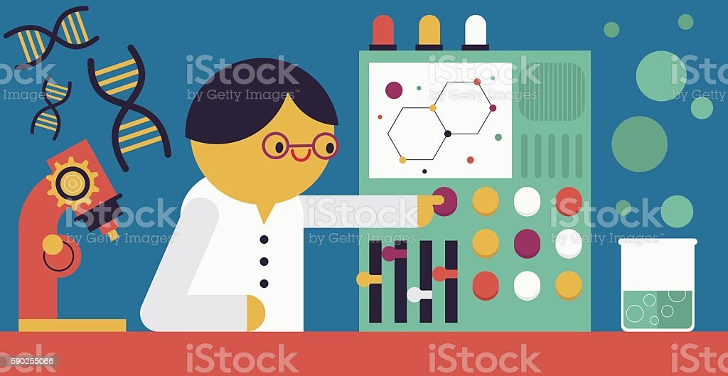 Scientist & Machine vector art illustration