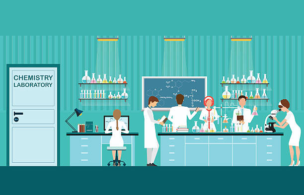 ilustraciones, imágenes clip art, dibujos animados e iconos de stock de científico macho y hembra de la investigación. - laboratory
