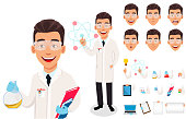 Scientist man. Handsome cartoon character creation set, pack of body parts, emotions and things. Build your personal design. Vector illustration on white background.