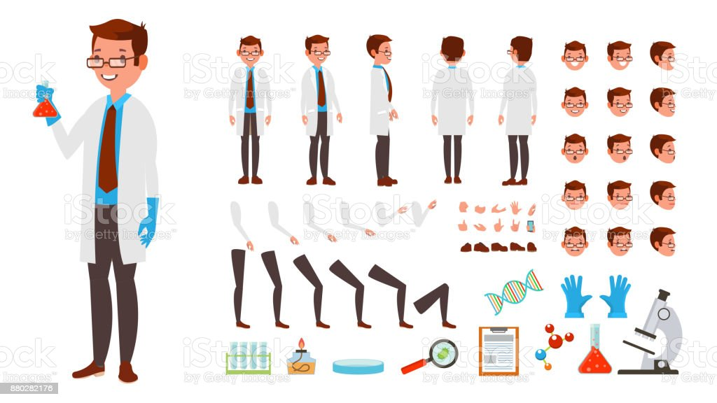 Scientist Man Vector. Animated Character Creation Set. Full Length, Front, Side, Back View, Accessories, Poses, Face Emotions, Hairstyle, Gestures. Isolated Flat Cartoon Illustration Scientist Man Vector. Animated Character Creation Set. Full Length, Front, Side, Back View, Accessories, Poses, Face Emotions Hairstyle Gestures Isolated Illustration Adult stock vector