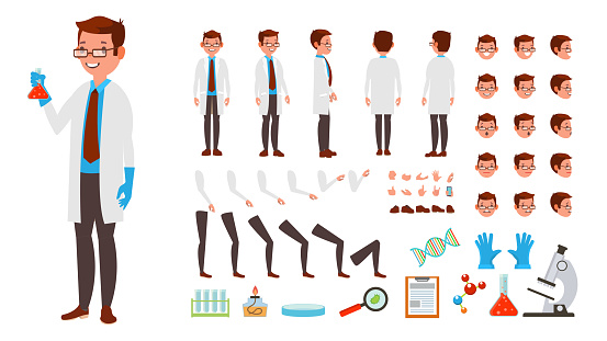 Scientist Man Vector Animated Character Creation Set Full Length Front Side Back View Accessories Poses Face Emotions Hairstyle Gestures Isolated Flat Cartoon Illustration Stock Illustration - Download Image Now