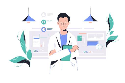 Scientist man working in laboratory