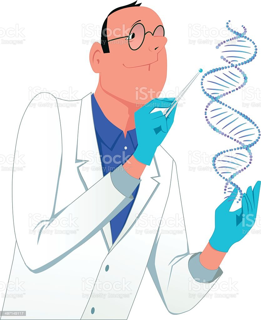 Scientist modifying a DNA molecule vector art illustration