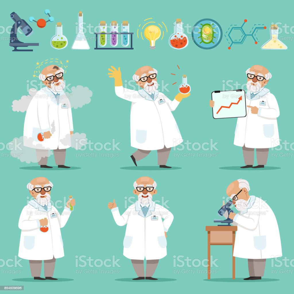 Scientist Or Chemist At His Work Different Accessories In Science