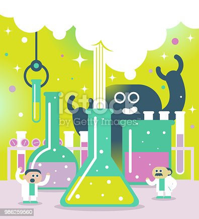 Bizarre Cartoon Characters Design Vector art illustration. Scientist or chemist at their work and bizarre monster.