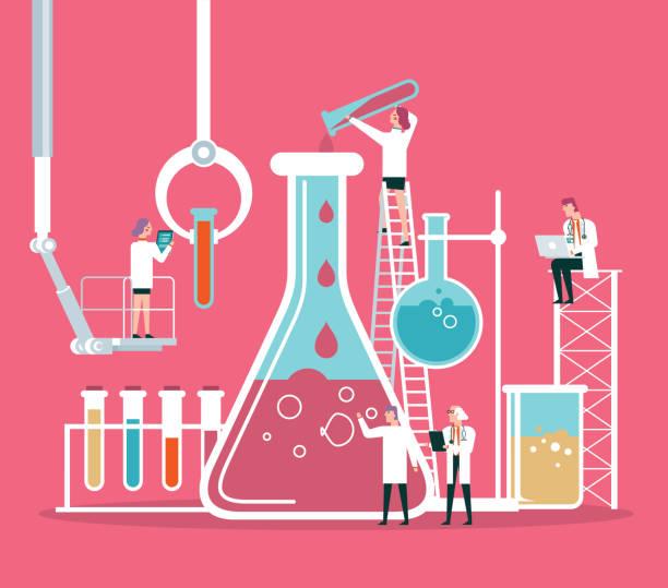 ilustrações, clipart, desenhos animados e ícones de equipe do cientista ou do químico - química