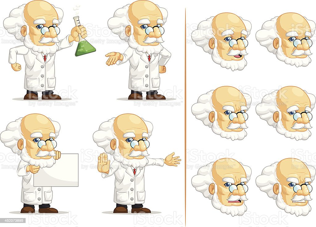 Scientist or Professor Customizable Mascot 10 royalty-free stock vector art
