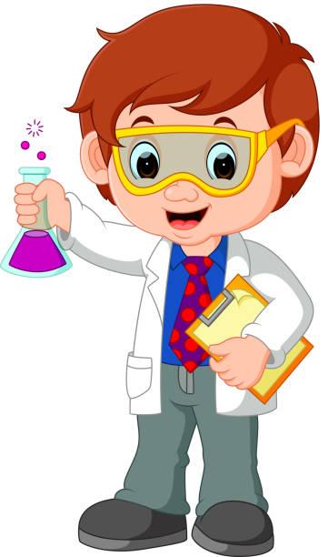 wissenschaftler oder professor hält flasche - extravagant schutzbrille stock-grafiken, -clipart, -cartoons und -symbole
