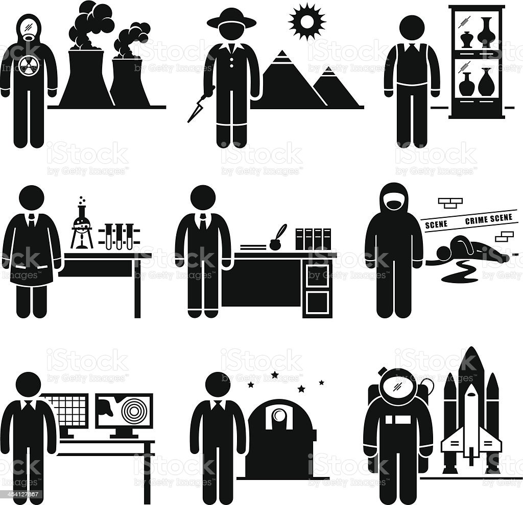 Scientist Professor Jobs Occupations Careers vector art illustration