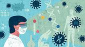 Abstract illustration showing expert researching coronavirus.