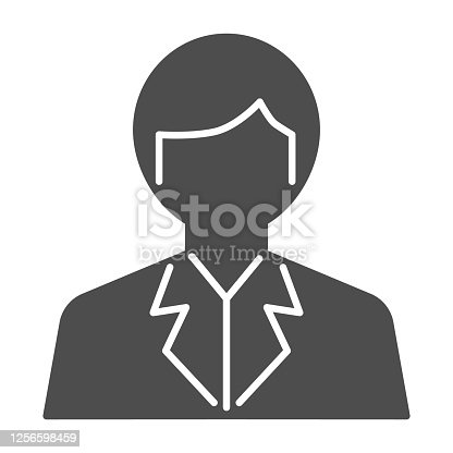 istock Scientist solid icon, science concept, Chemist sign on white background, Scientist Avatar icon in glyph style for mobile concept and web design. Vector graphics. 1256598459