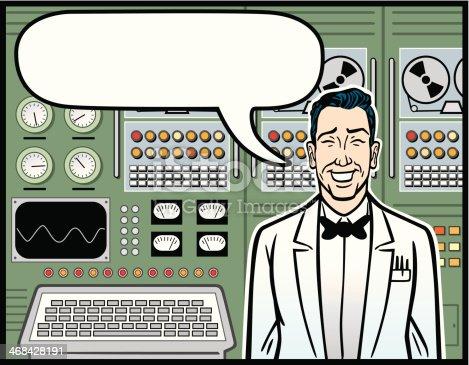 istock Scientist Standing In Front Of Vintage Computer 468428191