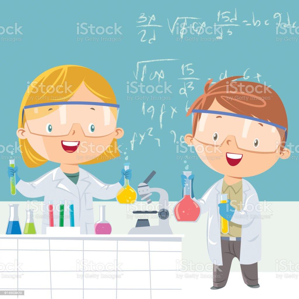 Estudiante científico - ilustración de arte vectorial