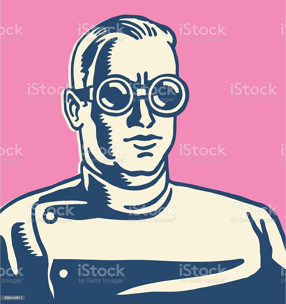 Scientist Wearing Goggles vector art illustration