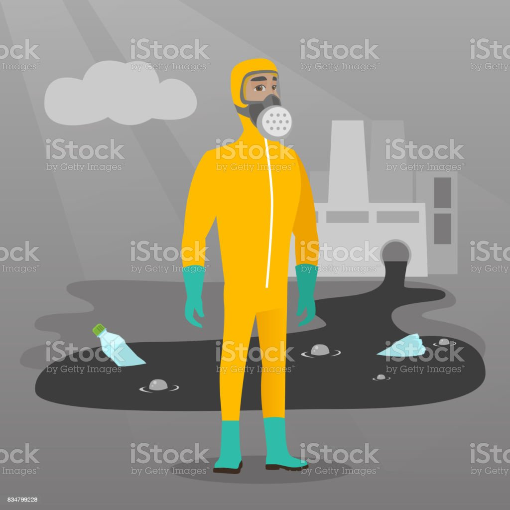 1b97d16cd005 Scientist Wearing Radiation Protection Suit Stock Illustration ...