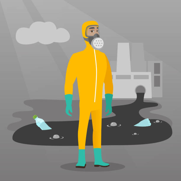 scientist wearing radiation protection suit - cartoon of a hazmat suit stock illustrations, clip art, cartoons, & icons