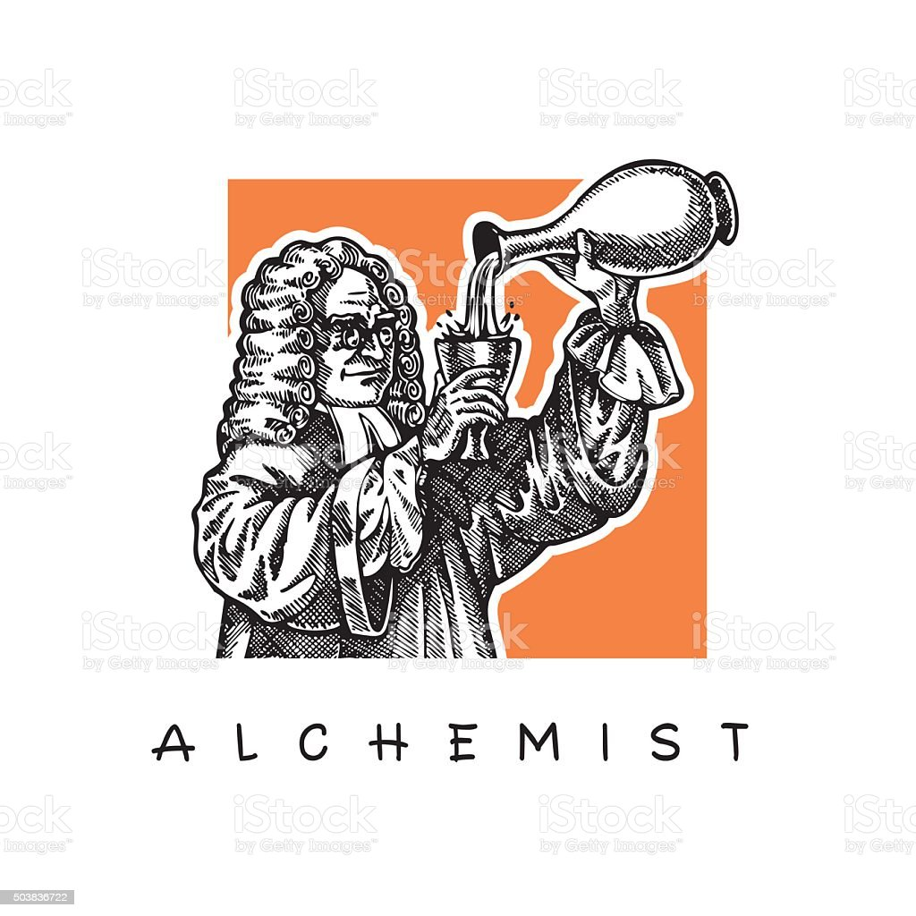 Scientist with long wig and glasses. Alchemist. vector art illustration
