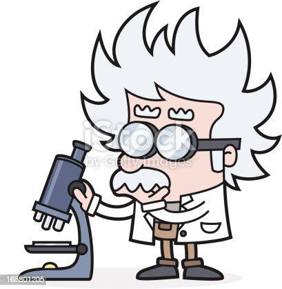 vector illustration of a scientist with microscope - examined something