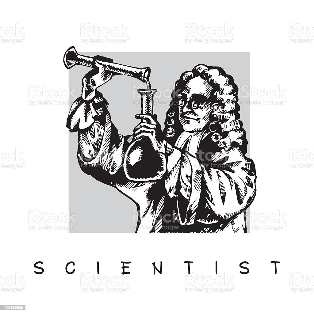 Scientist with test tube. vector art illustration