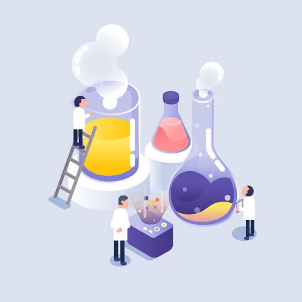 illustrazioni stock, clip art, cartoni animati e icone di tendenza di scientist working in laboratory / isometric icons - chimica