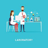 Scientist working in laboratory room. Workspace and workplace. Medical Laboratory.
