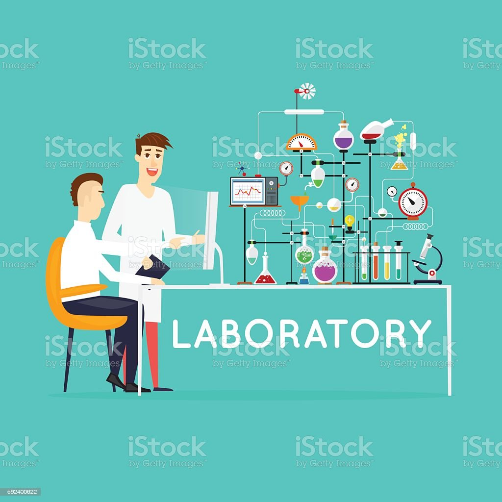 Scientist working in laboratory room. Workspace and workplace. Medical Laboratory. vector art illustration