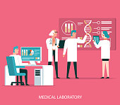 Scientists analyzing medical data vector illustration stock