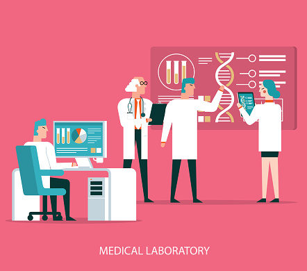 Scientists analyzing medical data