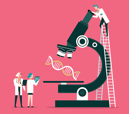 Scientists analyzing the dna code stock