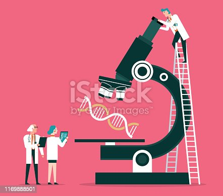 Scientists analyzing the dna code stock illustration
