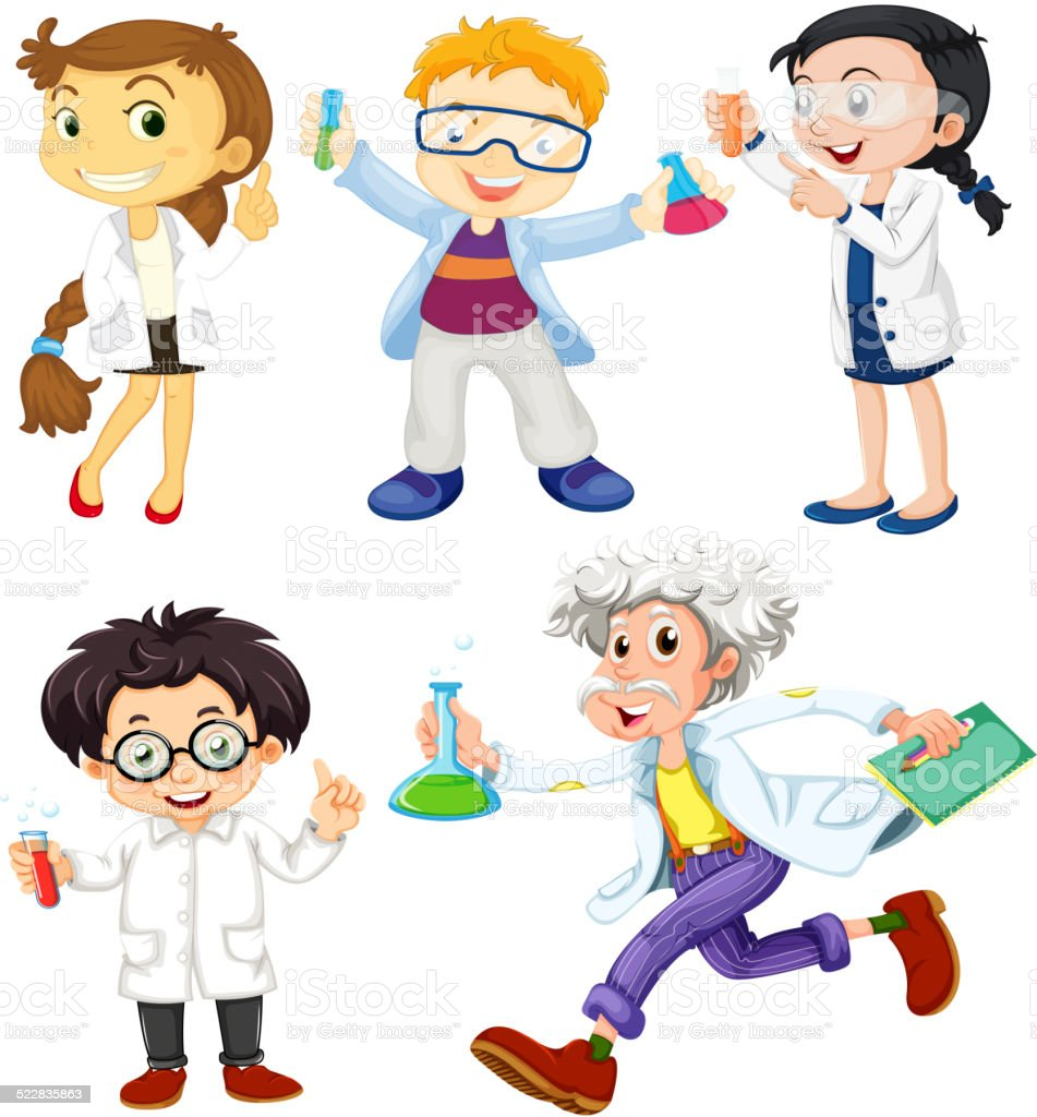 Scientists and doctors vector art illustration
