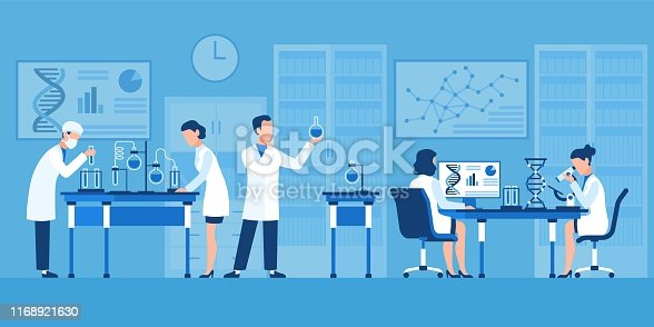 istock Scientists characters. Chemists in pharmaceutical lab, research with medical equipment. Clinical test with microscope vector concept 1168921630