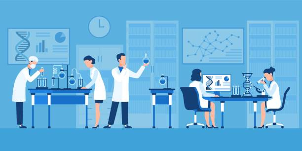 ilustrações de stock, clip art, desenhos animados e ícones de scientists characters. chemists in pharmaceutical lab, research with medical equipment. clinical test with microscope vector concept - scientist