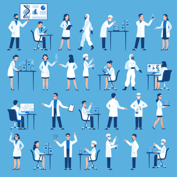 ilustrações de stock, clip art, desenhos animados e ícones de scientists characters. doctors group in science hospital laboratory, biological research with test clinical lab equipment vector set - scientist