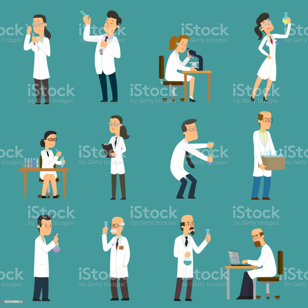 Scientists characters set with male and female people in laboratory. vector art illustration
