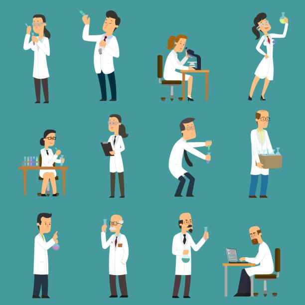 ilustrações de stock, clip art, desenhos animados e ícones de scientists characters set with male and female people in laboratory. - scientist