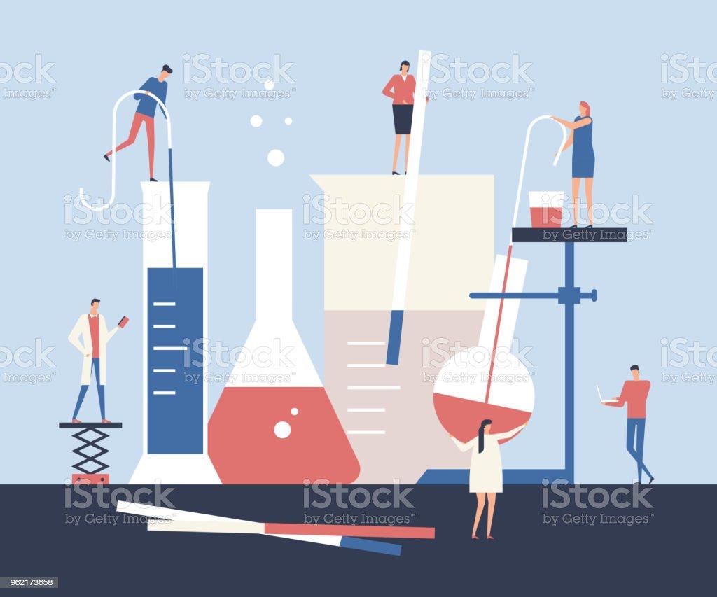 Científicos - ilustración de estilo de diseño plano - ilustración de arte vectorial