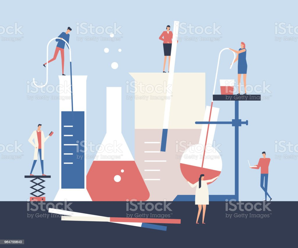 Scientists - flat design style illustration royalty-free scientists flat design style illustration stock vector art & more images of backgrounds