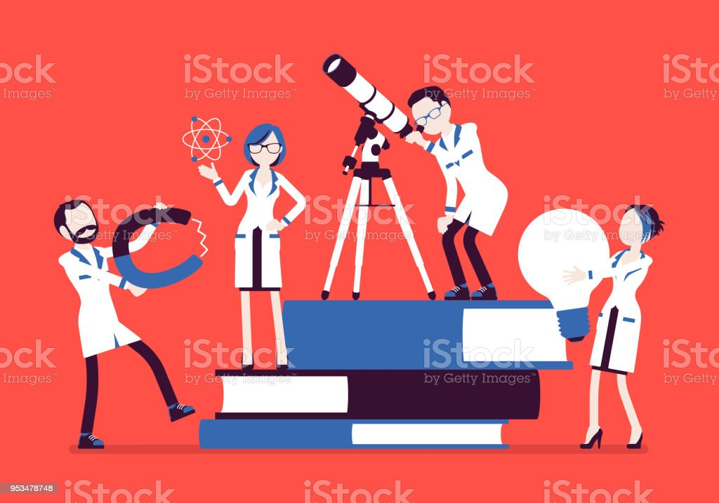 Scientists group researching with tools, near giant books Scientists group researching with tools, near giant books. Male, female experts of physical or natural laboratory in white coat. Science and education concept. Vector illustration, faceless characters Adult stock vector